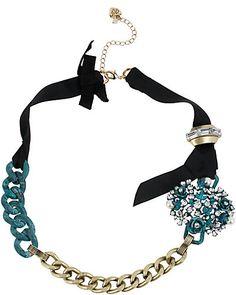 Betsey Johnson Patina Chain Ribbon Necklace