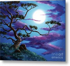 Zenbreeze Metal Print featuring the painting Bent Pine Tree At Moonrise by Laura Iverson