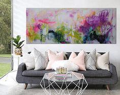 """pintura abstracta grande horizontal floral negrita rosa púrpura caliente """"otro día en el jardín"""""""
