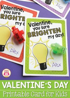 Here are some free printable non-candy Valentine's Day Cards for kids. Add a finger light, a glow stick, or a little flashlight for loads of fun at a Valentine's Day party. It's an original Valentine that kiddos will surely enjoy...perfect for kids in preschool, pre-k, and kindergarten.