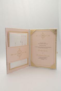 Luxury Couture Gold and Blush Folio Wedding Invitation