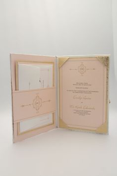Luxury Couture Gold and Blush Folio Wedding Invitation