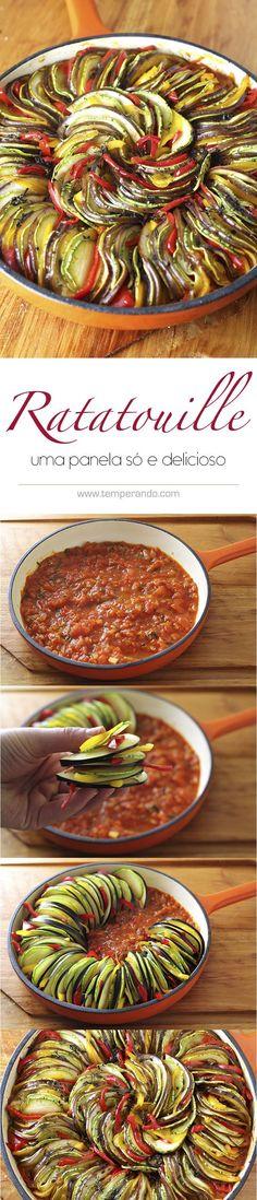 RATATOUILLE - Deliciosa receita de ratatouille . Legumes assados em molho de tomate, prefeito para acompanhamento | http://temperando.com #ratatouille #acompanhamento #receita