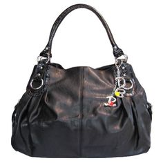 Large Charm Hobo Handbag (Black)