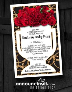 Kentucky Derby! Fresh red roses in a white vase set on a background of gold chains on black, the Vase on Roses on Black Kentucky Derby Party Invitations are a perfect way to get the gang together to watch the Derby or use them for a Derby themed party or bridal shower. See our entire Kentucky Derby Party Invitations collection at Announcingit.com