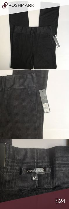 """Daisy Fuentes Ponte Pants in Charcoal Plaid NWT This is a very nice brand new Daisy Fuentes Ponte Pants/Slacks. They have a wide 2 3/4"""" elastic waist, two real side pockets, a faux front zipper, & two faux pockets in the back. These slacks are in a really pretty charcoal gray plaid design & are very soft. Great with flats or heels. (Rise: 10 1/2"""", Inseam: 33 1/4"""", Outseam: 43"""") Daisy Fuentes Pants Boot Cut & Flare"""