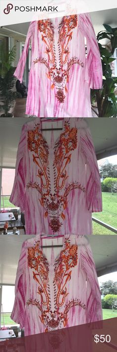 Boho KAreena's silk Tunic with beading. Size medium. Kareenas 100 percent silk new without tags beaded boho tunic. This is absolutely beautiful. I bought it for a vacation and just never got around to wearing it. The beadwork is intricate and looks very expensive. kareenas Dresses Midi