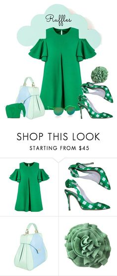 """""""Shades of Green"""" by metter1 ❤ liked on Polyvore featuring ferm LIVING, Miu Miu, Aevha London, Sonia Rykiel, Italia Independent and ruffles"""