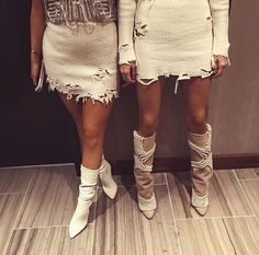 Kendall and Kylie Jenner at Kanye West show in custom Yeezy 3 embellished boots NYFW 2016