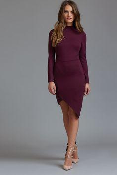 Asymmetrical Mock Neck Bodycon Dress