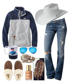 A fashion look from January 2018 featuring jersey top, cross pendant necklace and white cowboy hat. Browse and shop related looks. Country Style Outfits, Southern Outfits, Country Fashion, Country Wear, Cute Cowgirl Outfits, Western Outfits Women, Cute Comfy Outfits, Teenager Outfits, Outfits For Teens