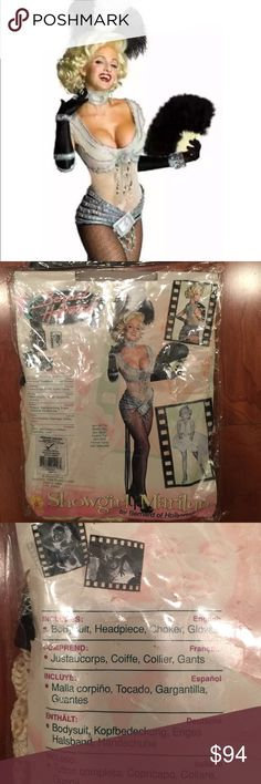 NIP Marilyn Monroe Showgirl Halloween Costume S/M RARE Marilyn Monroe Showgirl Costume with Wig included!!  I can ship out by tomorrow, I have to ship directly from the post office and therefore the tracking provided by posh will not be your tracking. It will have to go priority first thing to make it to you by Saturday. For 1 day, it depends where you live, we will have to figure it, etc. RARE!!!  There were only a certain amount of these made!!  It's an M but fits like a S. Runs small…