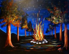 """SUN, 4/19/15  6-8pm  FUNDRAISER to benefit Drury Softball Team  OPEN TO THE PUBLIC.  Learn how to paint """"Summer Campfire"""" on a large 16x20 canvas for only $35.  At The American Legion, 91 American Legion Dr, North Adams, MA.  All painting materials included for this 2 hour painting.  Reserve your seats at www.berkshirepaintandsip.com"""