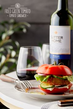 """Have you everheard of the """"Fried Green-Tomato Tomato Sandwich""""? Pair it with our Sutter Home Merlot and you'll be in flavor heaven. Y'allcheck itout."""