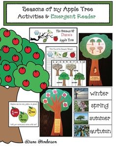 """Apple activities: """"Seasons of my Apple Tree activities packet: games, worksheets, puzzles, graphing, emergent reader, pocket chart cards all with a 4 seasons theme using an apple tree. Cute!"""