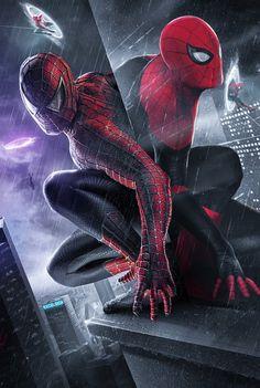 Spider-Man: Multiverse artwork (By BossLogic) Marvel Comic Universe, Marvel Art, Marvel Heroes, Marvel Cinematic Universe, Marvel Comics, Spiderman Tattoo, Spiderman Movie, Amazing Spiderman, Marvel Wallpaper