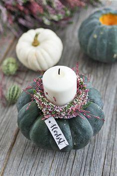DIY Herbstdeko: Ornamental squash candleholder # styleyourgourbis - Sinnenrausch - The creative DIY Handmade Books, Handmade Candles, Handmade Crafts, Winter Diy, Fall Diy, Autumn Decorating, Fall Decor, Diy Blog, Halloween Home Decor