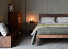 Walnut Hoxton handmade bed with Cube furniture - all from Natural Bed Company
