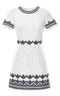 Embroidered Lace Short Sleeve Dress by Sea - Moda Operandi