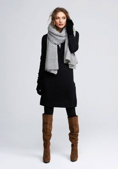 black dress, gray scarf, black tights, brown boots