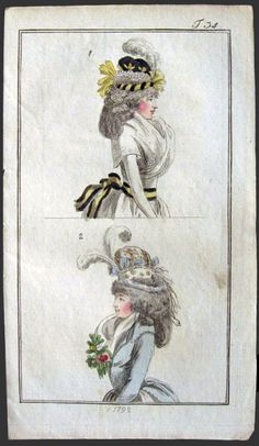 1792 Antique Hand-Colored Fashion Print ~ Elaborate Feather Hats