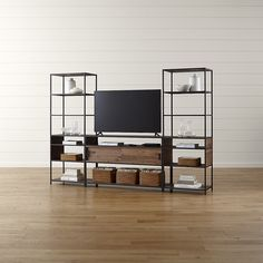 Knox Media Console with 2 Tall Open Bookcases at Crate and Barrel Canada. Discover unique furniture and decor from across the globe to create a look you love.
