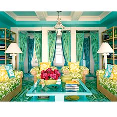 Yellow, turquoise and green