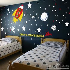 Baby Space Rocket Ship Wall Decal Planets Rockets Galaxy - Stars Boys Room Outer Space Wall Decals - Custom Name - Vinyl Wall Decals Sticker on Etsy, $140.00