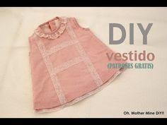 DIY Vestido de niña forrado (patron gratis) - YouTube
