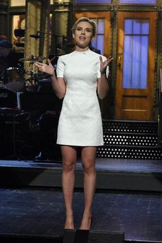 Scarlett Johansson in a white short-sleeve mini dress on SNL