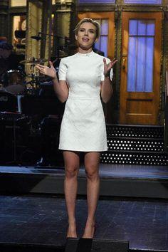 Scarlett Johansson in a white short-sleeve mini dress on SNL
