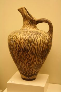 Minoan Jug in Floral Style - Late New-Palace period (1450 BCE) clay jug with distinctive leaf pattern, from Phaistos. (Heraklion Archaeological Museum, Crete)