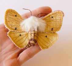 Tiger Moth Buff Ermine Brooch Fiber Art Insect by BlueTerracotta