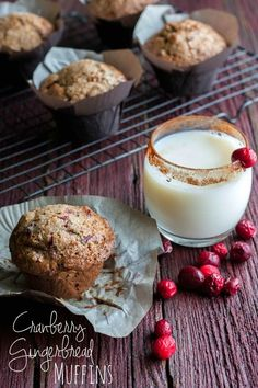 Cranberry Gingerbread Muffins, cranberry muffins, muffins made with cranberry, thanksgiving morning breakfast ideas  Recipe here: http://www.sweetphi.com/cranberry-gingerbread-muffins/