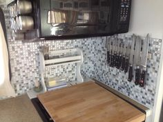 Behind Stove with Smart Tiles