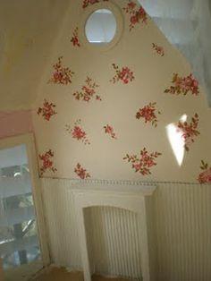 handpainted walls, corragated cardboard for wainscoating