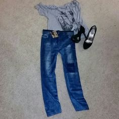 Denim Print Leggings ??Please dont buy this listing. Ill create a separate listing for you. ??Sizes available XS, S  ??Denim-Like Ladies Jeans Leggings Pants.  ??Made of Polyester. ??Brand new with tags.  ??The color is denim blue Pants Leggings