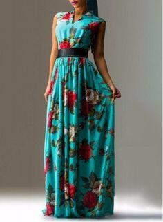 Elegant V-Neck Sleeveless Floral Print Pleated Maxi Dress For Women