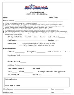 Free Downloadable Catering Contracts Forms | Catering Agreement ...