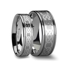 Matching Rings Set Celtic Pattern Laser Engraved Tungsten Anniversary Band 6 mm & 8 mm