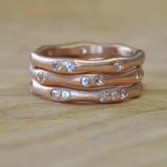 Water Rings in 14 Karat Rose Gold with Moissanite by Silverwoods, $1455.00