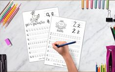SZABLONY DO NAUKI PISANIA LITER - LITERKI M - Z - Mama Bloguje Learn Polish, Notebook, Bullet Journal, Learning, Teaching, Education, Studying, Notebooks, Scrapbooking