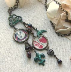 Retro Magpie Bird Flower Pendant Lockets Necklace with July Birthstone Crystal Silver Plated