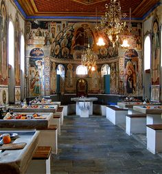 Vatopedi Monastery _ Trapeza (The dining hall), Mount Athos, Greece The Holy Mountain, Cultura General, Russian Orthodox, Byzantine Art, European Countries, Building Materials, Aries, Fresco, Restoration