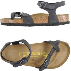 Birkenstock Thong Sandal ($90) ❤ liked on Polyvore featuring shoes, sandals, steel grey, toe thong sandals, birkenstock footwear, rubber sole shoes, round toe flat shoes and round cap