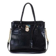 Michael Kors Python Continental Large Black Totes Outlet - $77.99