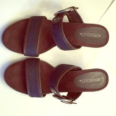 Aerosoles. Sandals. Blue denim with brown fx leather. Size 8 1/2 silver buckle. Never worn outside! AEROSOLES Shoes Heels