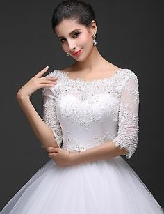 Ball Gown Scoop Floor-length Wedding Dress (Lace/Tulle) – CAD $ 319.69