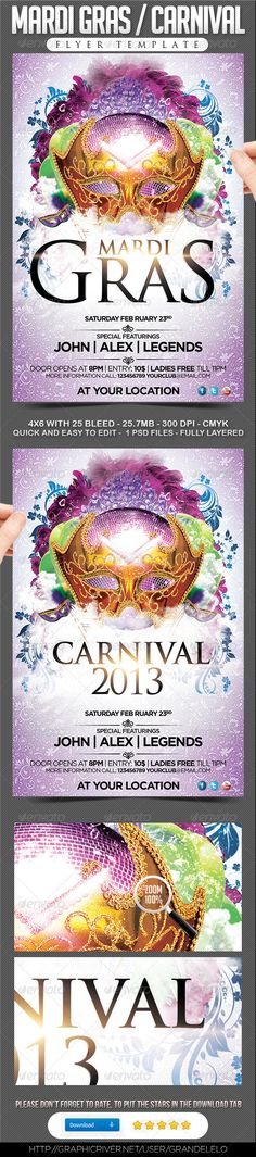 Mardi Gras / Carnival Flyer  YOU CAN DOWNLOAD THE TEMPLATE HERE: http://graphicriver.net/item/mardi-gras-carnival-flyer-/3711913?ref=grandelelo