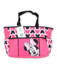 Loving this Pink  Black Minnie Mouse Diaper Bag on #zulily! #zulilyfinds